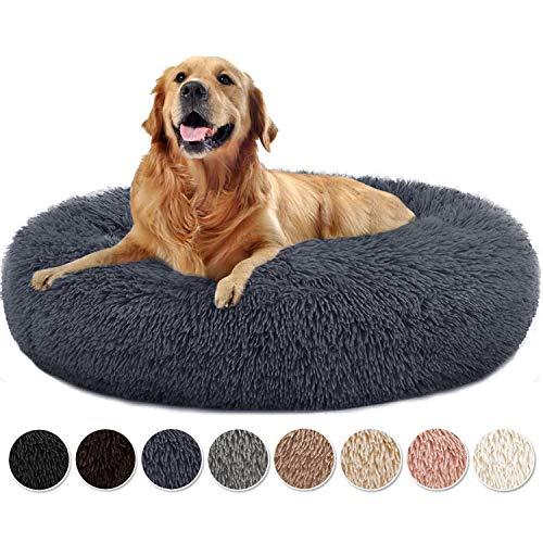 Yurun Hundebett Flauschig, Klein Hund Bett Haustierbett Plüsch Weich kuscheliges waschbar Runden Katze Schlafen Bett Hunde Donut Kissen für kleine Hunde und Katzen - Dunkelgrau 60x60x20cm
