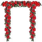 Momkids 3 Pcs (19.5 FT) Artificial Rose Flowers Vine Faux Flower Plants Rose Ivy Hanging Baskets Fake Silk Garland Lifelike Floral for Home Garden Party Wedding Arch DIY Outdoor Decoration (Red)