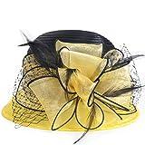 Kentucky Derby Dress Church Cloche Hat Sweet Cute Floral Bucket Hat (Yellow)