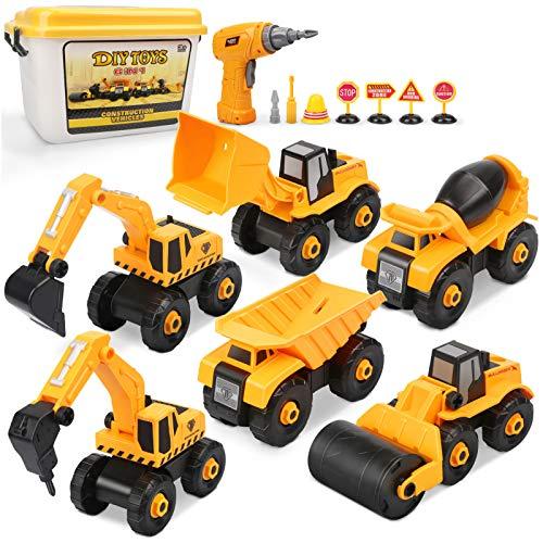 pequeño y compacto Vehículo de construcción de juguete Dreamon, montaje de tractor excavador con taladro …