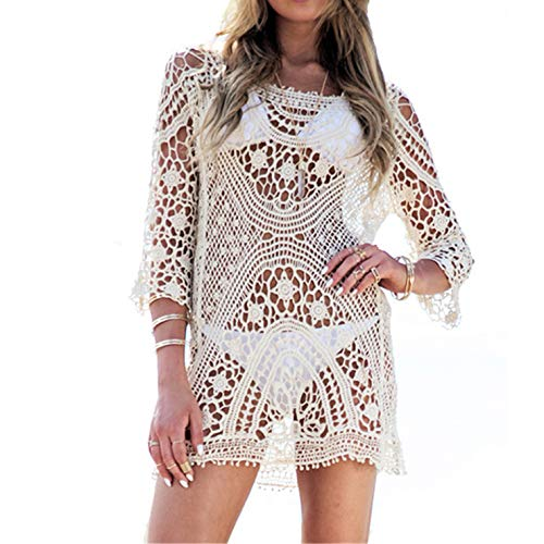 Ai.Moichien Maillot de Bain Femme Cover Up Crochet Lace Bikini Swimsuit Dress White One Size