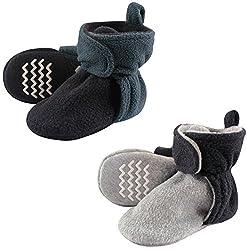 Hudson Baby Unisex Cozy Fleece Booties, Blue Gray, 18-24 Months