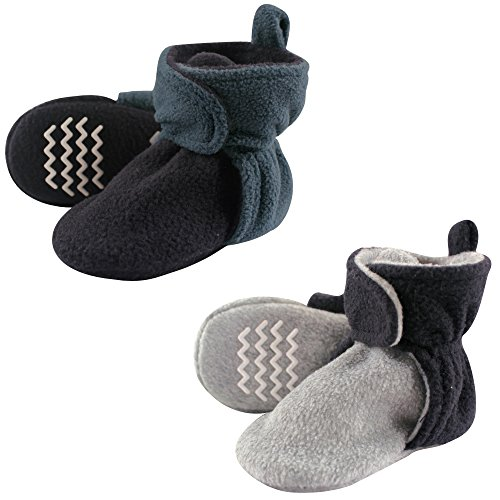 Hudson Baby Unisex Cozy Fleece Booties, Blue Gray, 6-12 Months
