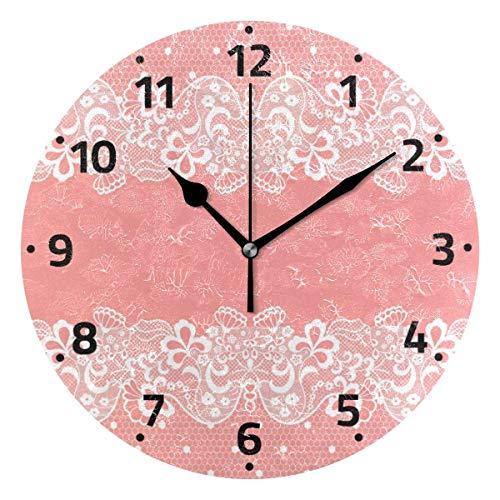 KUYJTHT Reloj de pared de flores rosas con flores y flores que no hacen tictac, para dormitorio, cocina, sala de estar, escuela, oficina, 9.4 pulgadas