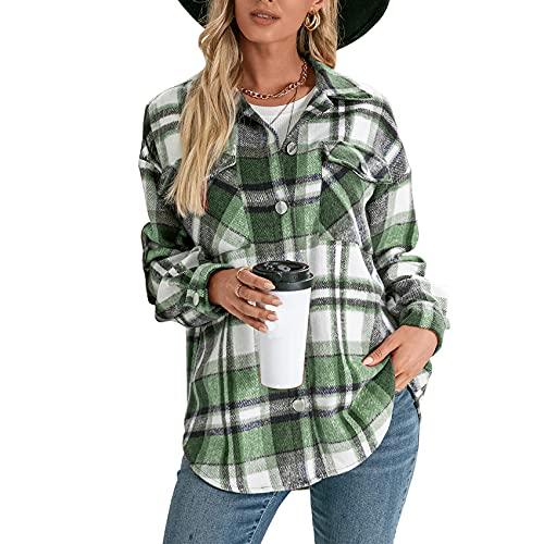 BDCUYAHSKL Herbst Und Winter Damenmode Revers Plaid Print Langarmhemd Einreihige Knopfleiste Lose Freizeithemd Jacke Damen