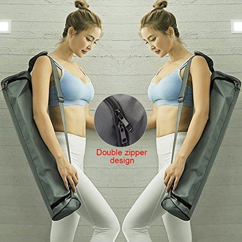 GeKLok - Bolsa Impermeable para Yoga, Pilates, Yoga, Esterilla con Cremallera de Longitud Completa, Correa de Hombro Ajustable, Bolsa de Gimnasio Ligera