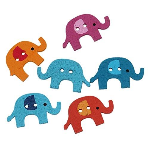 Sadingo Holzknöpfe Elefant, Kinderknöpfe, Bastelknopf, Dekoknopf, Scrapbooking, 10 Stück, 34 x 20 mm, Zufälliger Mix