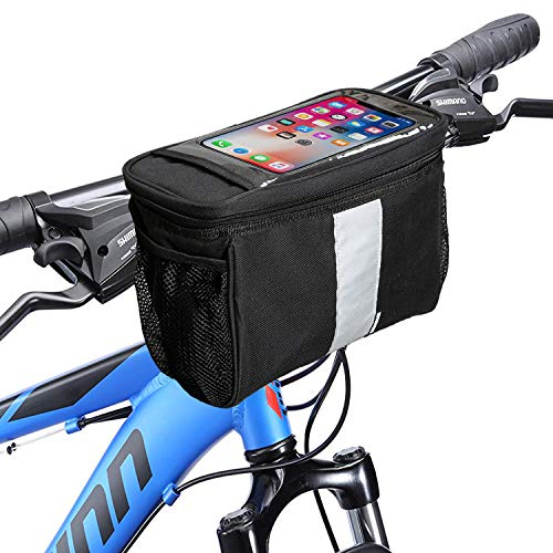 MATTISAM Bike Handlebar Bag, Cold & Warm Insulation Bike Cooler, Bike Basket | with Phone Holder - Reflective Strap - Water Resistant | Bicycle Front Bag, Bike Pouch for Cycling