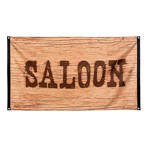 Boland 54352 - Dekorationsfahne Wild West, 1 Stück, Größe 90 x 150 cm, Saloon, Holzbrett, Wilder Westen, Cowboy, Dekorationsbanner, Wanddekoration, Mottoparty, Geburtstag, Karneval