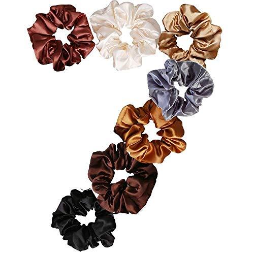 Uni-Fine 7Pezzi Scrunchies per capelli Raso,Seta Elastico Accessori per Corda,Cotone Ponytail Holder Legami per Capelli Morbide Fasce per Ragazze e Donne