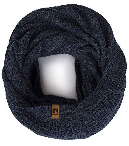 HEYO Rundschal H16025 | Winter Loop Schal für Herren | weiches gestricktes Schlauchschal | warmes Strickschal (Dunkelblau)