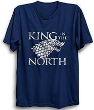 PrintBharat Unisex GOT Games of Thrones King in The North Half Sleeve Cotton Tshirts