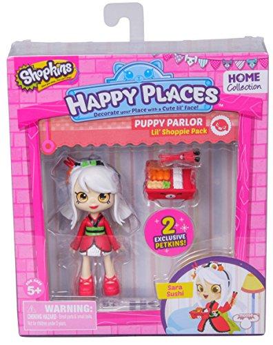 Shopkins – Happy Places – Puppy Parlor – Sara Sushi – Set 2 Mini Figurines Petkins + 1 Mini Poupée
