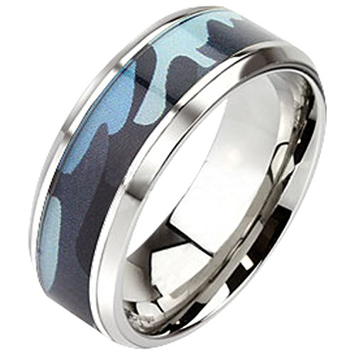 LaRaso & Co Camo Wedding Ring Stainless Steel Blue Band Polished Edges Comfort Fit 12