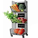 Cestas de Frutas y Verduras Colgantes de 3 Niveles con Rueda-Organizador de La Cesta,5pcs S-Hooks,Pizarras Extraíbles,Perfecto para Cocina,Frutas,Verduras,Artículos de Tocador,Negro