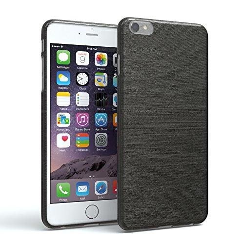 EAZY CASE Hülle kompatibel mit Apple iPhone 6 / 6S Schutzhülle Silikon, gebürstet, Slimcover in Edelstahl Optik, Handyhülle, TPU/Soft Case, Backcover, Silikonhülle Brushed, Anthrazit