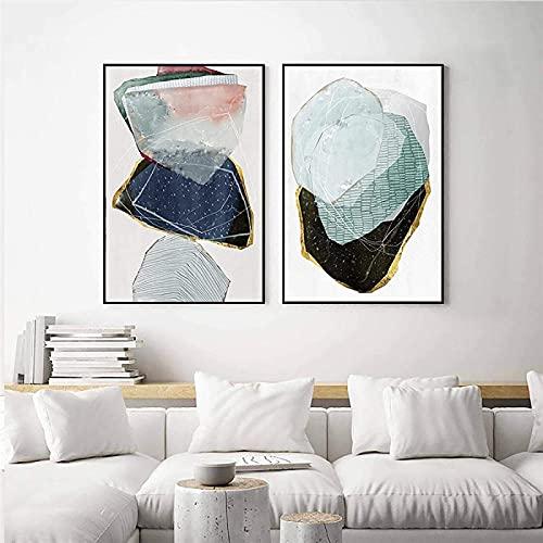 SXXRZA Impresiones para Paredes 2 Piezas 30x50cm Sin Marco Pintura Abstracta geométrica en Lienzo Línea Dorada Azul Póster e impresión de imágenes nórdicas para la decoración de la Sala de Estar