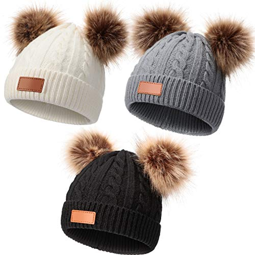 3 Pieces Kids Winter Pompom Hat Knitted Ski Beanie Hat Double Pom Beanie Cap for Girls Boys, for 1-3 Years Old ?Gray, White, Black?