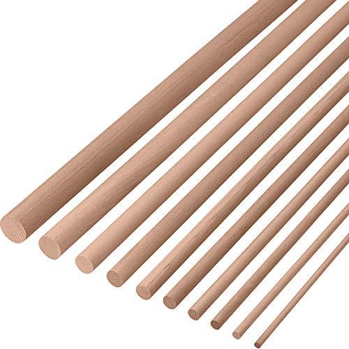Gedotec Tige bûches Ronde | Diamètre 10 mm et Longeur 1000 mm | Artisanat et Jardinage Lisse en Bois de HÊTRE | Solide Stable Haute qualité | Fabriqué en Allemagne | 10 pièces