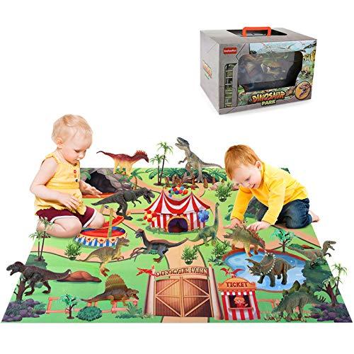BeebeeRun Juegos de Dinosaurios 24 Piezas,Figura de Dinosaurio con árbol Estera Educativo Juego para Chicos Infantiles