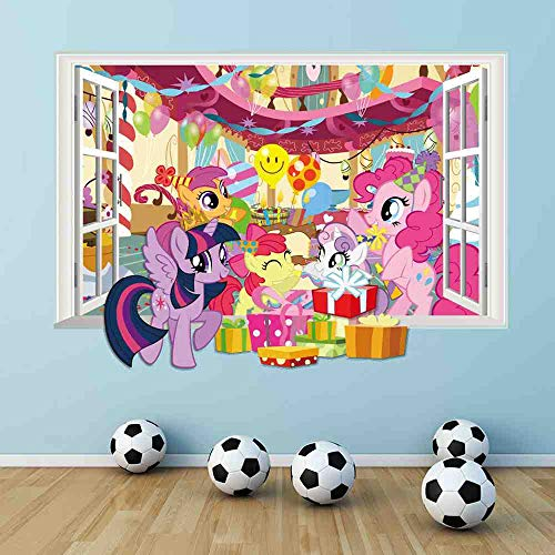 WDQTDY 3D My Little Horse Raam Muurtattoos voor kinderkamer Decoratieve Cartoon Twilight Sparkle Muursticker DIY muurschildering kunst wooncultuur