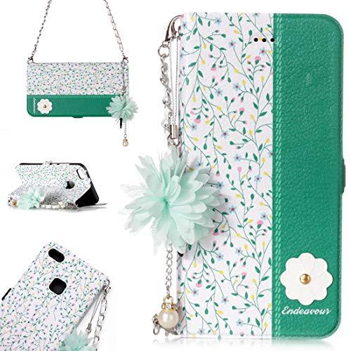 para Cajas de Cuero. DJM para Huawei P10 Lite Daisy Flower Poder Horizontal Funda de Cuero con Soporte y Ranuras para Tarjetas y Adornos y Cadenas de la Flor de la Perla (Color : Color2)