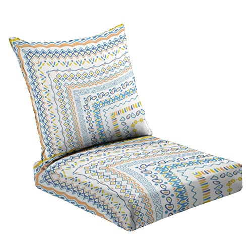 MVEMOEMCA Vector Brushes Collection in Boho Style Stock Illustration Deep Seat Cushion Set Plush Surface Backrest and Seat Cushion Outdoor Indoor Furniture Replacement Cushions