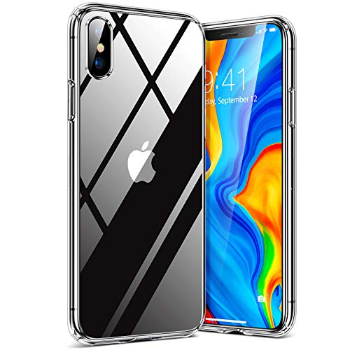 TORRAS Diamond Clear Designed for iPhone Xs Case/iPhone X Case, [Non-Yellowing] Slim Fit Protective Hard Case with Soft TPU Bumper for iPhone Xs/iPhone X 5.8 inch, Clear