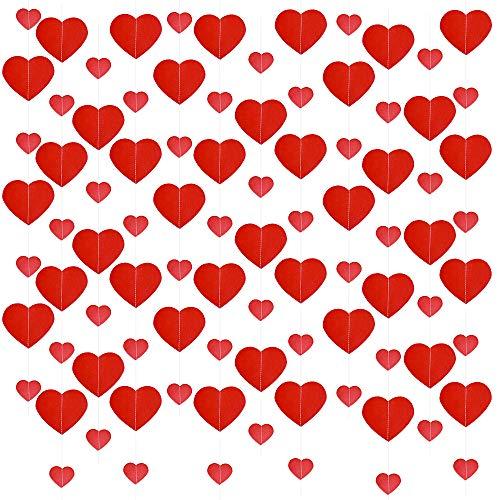 VINFUTUR 6pcs Guirnalda Corazones Papel Banner Corazón Rojo para San Valentín Bandera Colgante Corazones Papel para Fiesta Boda-2m/pcs