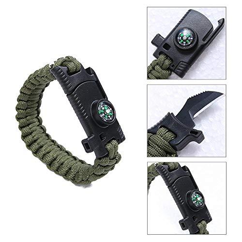 Bracelet de Survie en paracorde avec Couteau | Sifflet | Boussole | Pierre à feu | Corde | pour Chasse, Camping, randonnée, pêche, buschCraft Outil de Survie - Vert armée