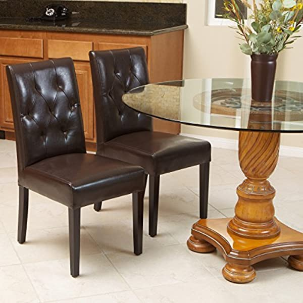 Christopher Knight Home 213821 Waldon Brown Leather Dining Chairs W Tufted Backrest Set Of 2
