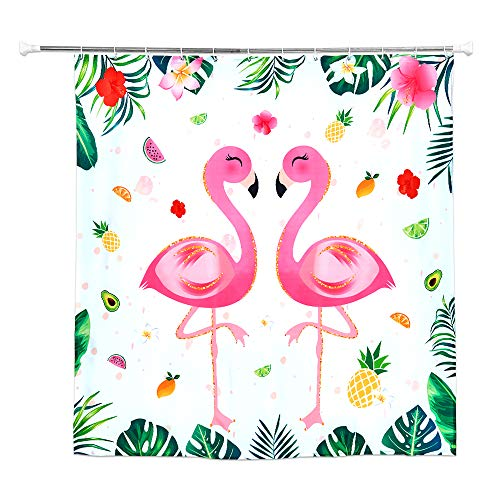 WERNNSAI Flamingo Duschvorhang - 180 x 180cm Badvorhang mit Kunststoffhaken Polyester Fabrik Tropisches Blatt Blumen Ananas Muster Haupt Dekoration Vorhänge, Form Mehltau beständig