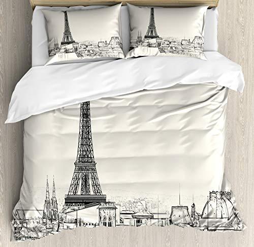 ABAKUHAUS stad van de Liefde Dekbedovertrekset, Parijs over de daken House, Decoratieve 3-delige Bedset met 2 Sierslopen, 200 cm x 200 cm, Eggshell en Black