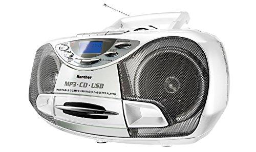 Karcher CD Radio RR 510N-W - Boombox (mit CD Player, UKW Radio, Kassettenspieler, MP3 Player über CD oder USB)