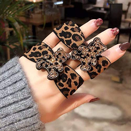 THTHT haarring eenvoudige meisjes elastische haarband schattige Bear Leopard Print 2 stuks hoofdtooi vrouwelijk haar met paardenstaart elastiek haarbundel