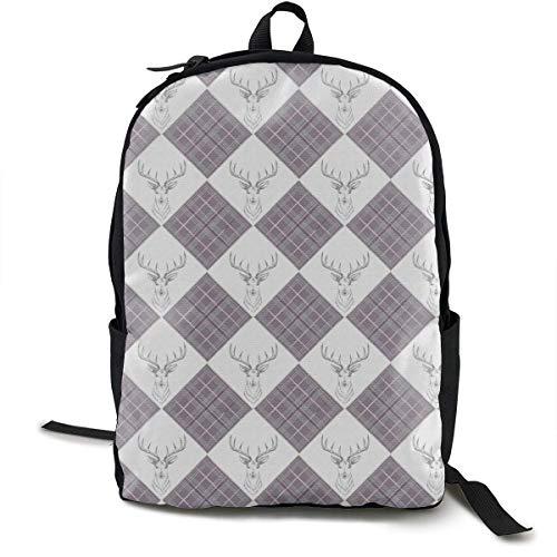 zhengchunleiX Sports Book Bags,Travel Daypacks,Casual Rucksack,Lattice Deer Pattern Unique Backpack Durable Oxford Outdoor College Students Busines Laptop Computer Shoulder Bags
