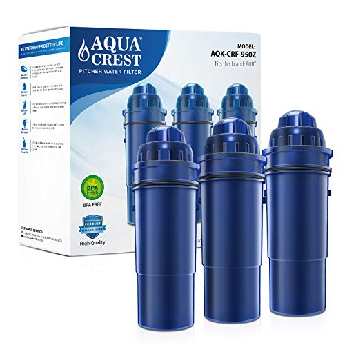 AQUACREST CRF-950Z Pitcher Water Filter, Compatible with Pur Pitchers and Dispensers PPT700W, CR-1100C, DS-1800Z and More (Pack of 3) (Packing May Vary)