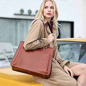 51JErVRwUpL. SS300  - Kattee Vintage Bolso Maletín de Piel Auténtica Bolso Bandolera Mujer Bolsa de Mensajero para Portátil 15.6 Pulgadas (marrón)
