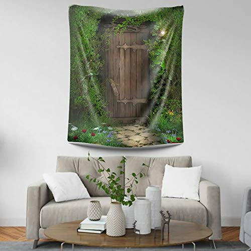 KnSam Tapiz decorativo de poliéster para puerta de madera en el bosque resistente al moho verde tapices para sala de estar, escritorio, mantel de picnic al aire libre, estilo 14 95 x 73 cm