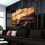 KOPASD 4 Partes decoración de Paredes Moderna Temprano Madrugada HD Impresión Foto 160 * 100Cm Regalo para Salon,Dormitorio,Baño,Comedor Decoració