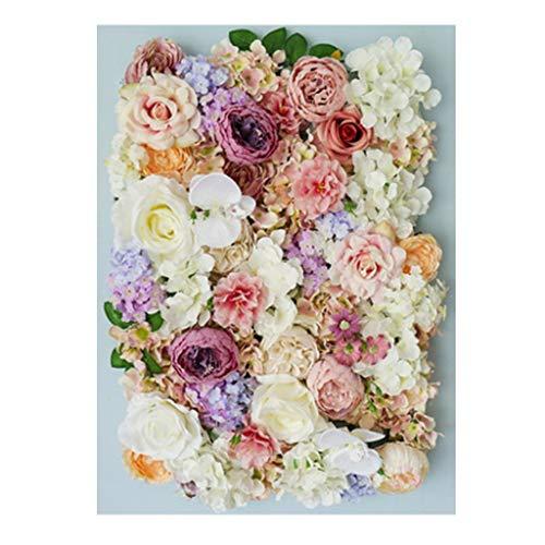 Ping- Pared De La Planta Artificial, Falsa Planta Verde Rosas Colgante De Pared Arte Floral, Boda Restaurante Creativo Pared De Fondo 40x60cm / Pieza 5 Colores (Color : E, Size : 4pack)