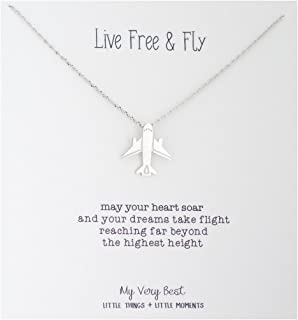 airplane necklace silver