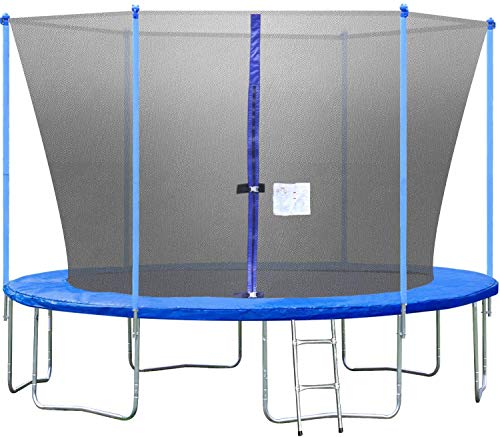 12FT Trampoline with Ladder and Safety Enclosure Net Jump Trampoline Outdoor PVC Spring Cover for Children and Adults