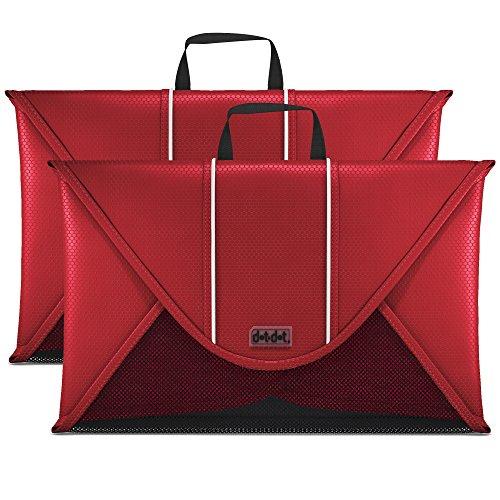 Dot&Dot Packing Folder for Travel - 15 inch Garment Sleeves 2 piece Set Red
