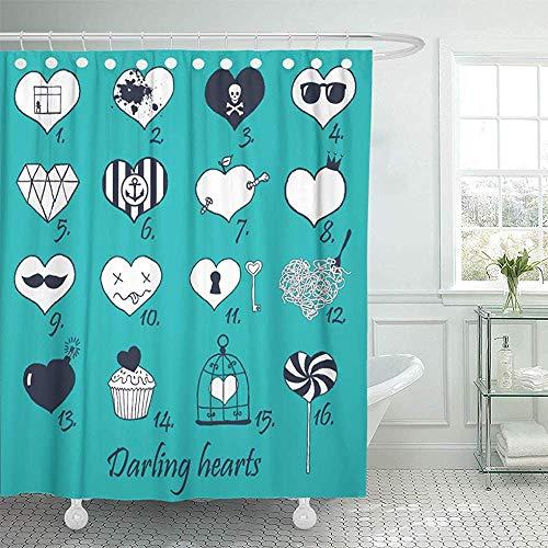 Not applicable Duschvorhang Diamant von Hand gezeichneten Herzen Candy Duschvorhang,72X72 In