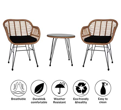 3 Pieces Patio Set with Cushion, Outdoor Wicker Patio Furniture Sets, Modern Bistro Set Rattan Chair Conversation Sets, for Garden Lawn Backyard