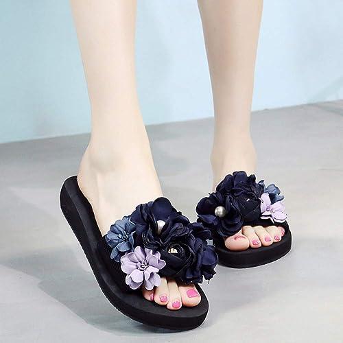 rouge LIU 2019 Mode Mode Bohème Floral Perles Fleur Plate-Forme Coins Plat Plage Pantoufles Femmes D'été Diapositives Non-Slip Chaussures Sandales  économiser 35% - 70% de réduction