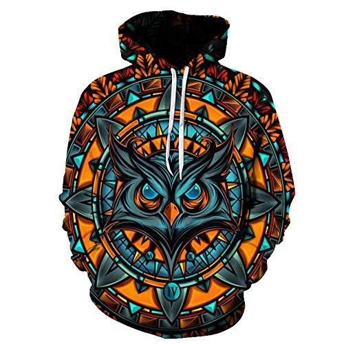 Autumn Casual 3D Wolf Head Print Loose Hoodie Sweater 9 Code Men and Women Same Style Orange