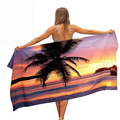 Toalla de Playa de Microfibra, Fansu Palmera Rectangular Anti Arena Secado Rápido Toalla,Impresión a Una Cara Manta para Piscina de Viaje, Playa,Yoga, Mujeres, Hombres (70x150cm,Puesta de sol púrpura)