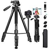 Victiv Camera & Tablet Tripod 72 inches, 2-in-1 Tripod Monopod 12 lbs Load for DSLR, Smartphone and iPAD with 2 Quick Mounts and Tablet Phone Holder for Travel and Work - Black